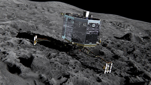 Philae on the surface of the comet
