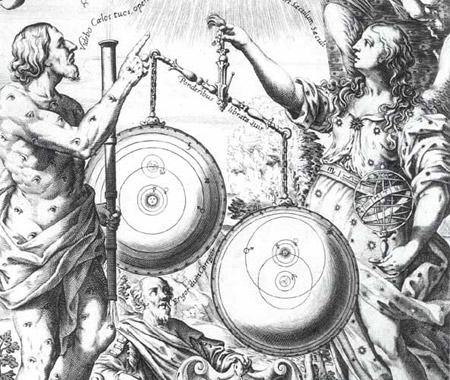 Detail from the frontispiece of Riccioli's Almagestum novum (Bologna, 1651)