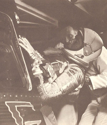 Walter Schirra entering the Sigma 7 capsule