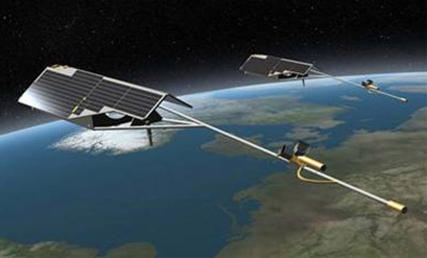 Artist's impression of Swarm satellites