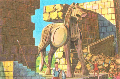 The Trojans bring the wooden horse inside the walls