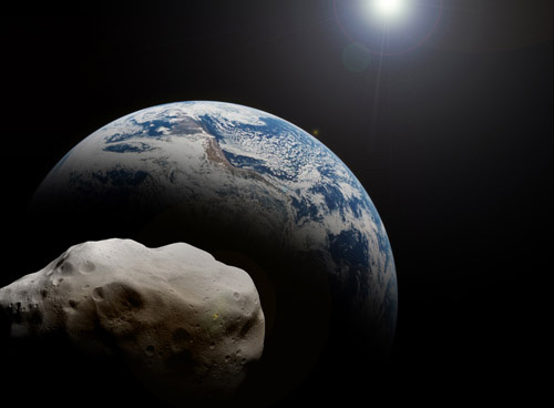 Rendering of a 10km-wide asteroid approaching Earth