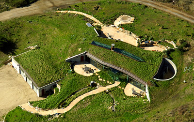 Aerial view of an earth-sheltered house
