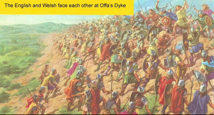 Battle between the English and Welsh at Offa's Dyke