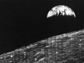 first photo of the Earth from the Moon, sent back by Lunar Orbiter 1