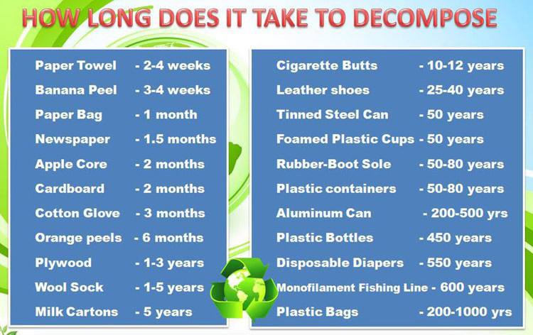how long it takes various materials to decompose