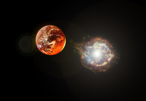 Earthlike planet near a supernova