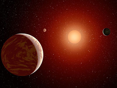 artist's impression of a red dwarf and its planetary system