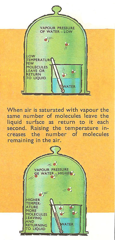 When air is saturated with vapor the same number of molecules leave the liquid surafce as return.Raisng the temperature increases the number of molecules remaining in the air.