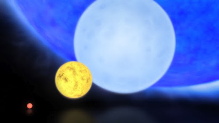 Artist's impression of different-sized stars, from a 0.1 solar-mass red dwarf through a Sun-like star and a blue dwarf of 8 solar masses to the newly-discovered 300 solar mass star R136a1. Image credit: ESO / M. Kornmesser