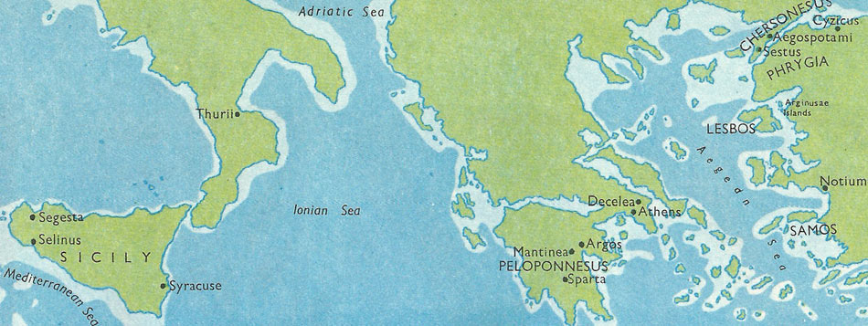 Map of the places visited by Alcibiades