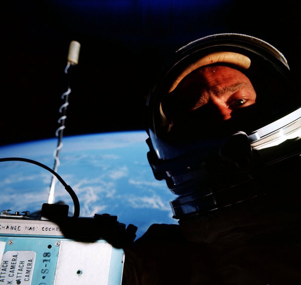 Buzz Aldrin, first selfie in space