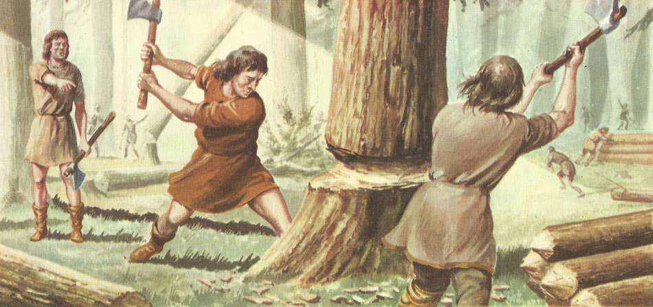 Anglo-Saxon felling trees
