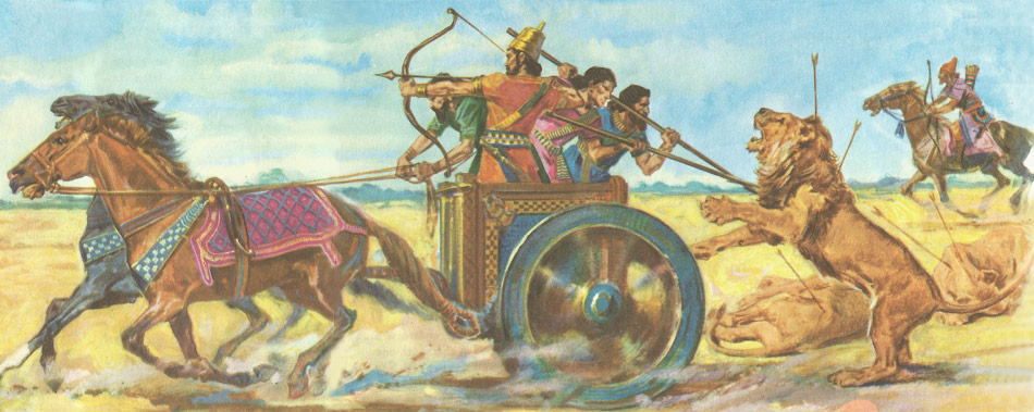 The Assyrian King Assurbanipal (669-626 BC) engaged in a dramatic lion hunt