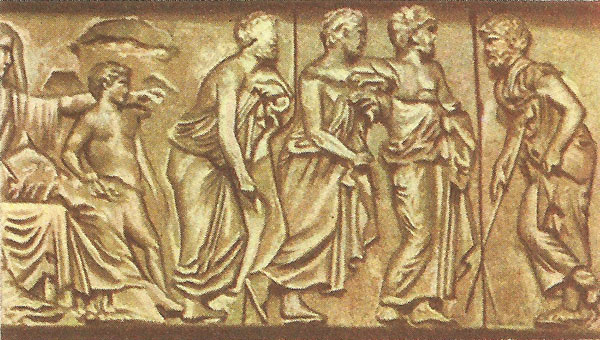Athenian magistrates (part of the Parthenon frieze). Note fine carvings of arms and legs