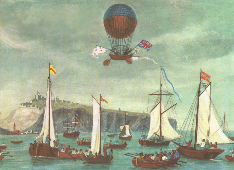 Blanchard and Jefferies departing from Dover Castle on January 7, 1785, to cross the English Channel by air for the first time.