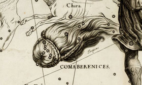 Coma Berenices as depicted by Johannes Hevelius in his Firmamentum Sobiescianum sive Uranographia (1687)