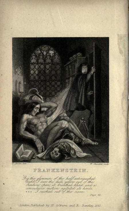 Inside cover art from the 1831 edition of Frankenstein