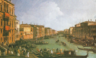 The Grand Canal at Venice was a favorite subject of the Venetian painter Canaletto