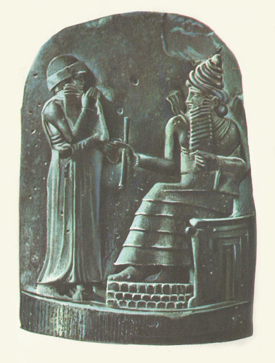 Hammurabi receiving his laws from the Shamash detail from the stele on which they were written.