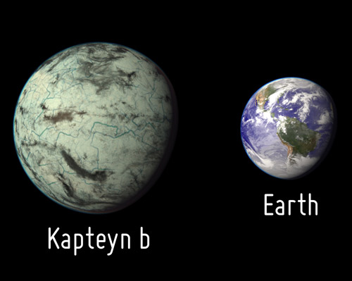 Size comparison of Kapteyn b and Earth