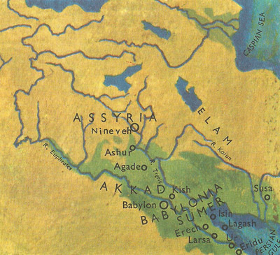 Principal Mesopotamian cities in the days of Hammurabi