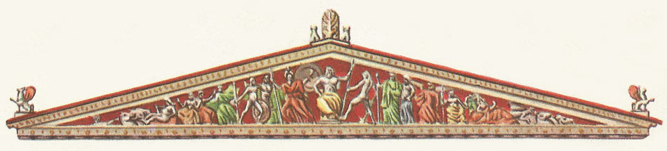 One of the pediments of the Parthenon, decorated with sculpures designed by Pheidias