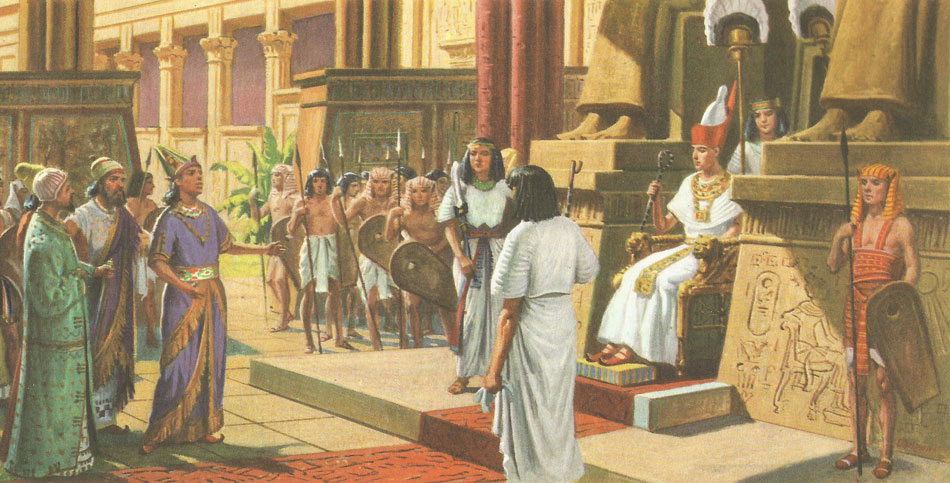Rameses II receives a Hittite delegation in his audience hall.