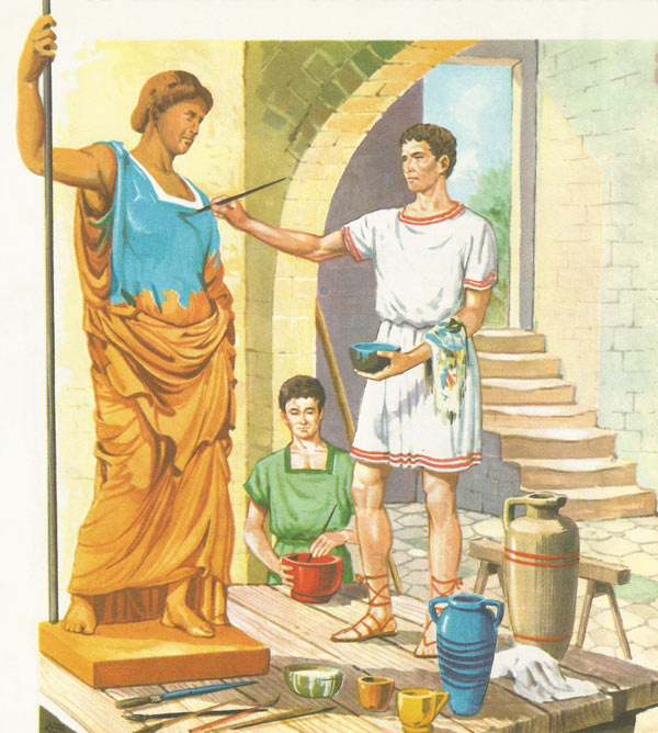 The workshop of a Roman sculptor in the early days of the Republic.  The artist is engaged in painting a terracotta statue