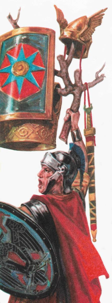 Romulus, after his victory over Arco, hangs Arco's armour on a branch of oak