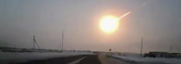 Asteroid exploding over Russia
