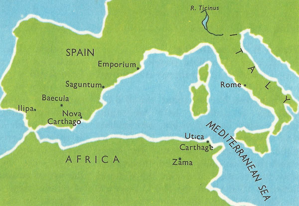 Map of Spain and the Mediterranean region at the time of Scipio