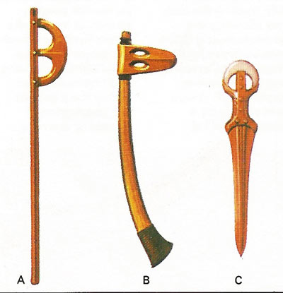 Early metal implements.