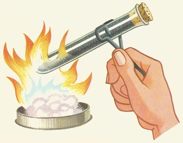 heating a test tube of iron filings
