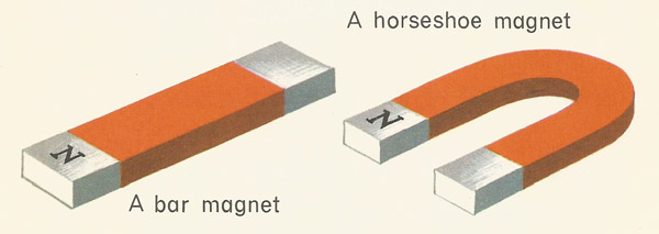 north pole of a bar magnet and a horseshoe magnet