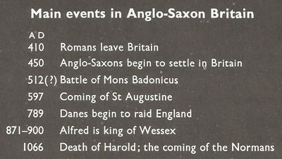 main events in Anglo-Saxon Britain