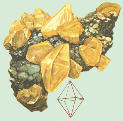 well-formed octahedral crystals of sulfur