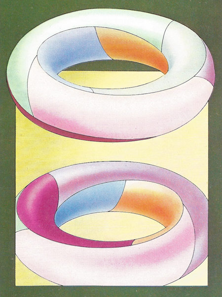 On a donut, or torus, a map can need up to seven colors to prevent ajacent areas sharing the sam ecolor. The map shown (with its mirrored reflection for completeness) needs all seven because each area touches the other six. The sections form a continuous helix winding round twice before closing on itself.