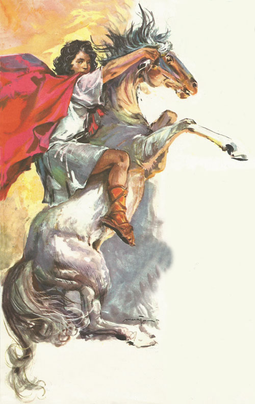 Alexander, as a boy of fourteen, tames the wild horse Bucephalus which no one else could master.  He rode Bucephalus in all his battles, and when the horse died of wounds, in India, he built a town and named it after him