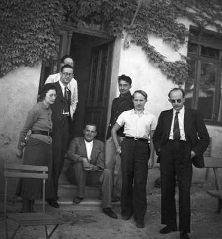 Bourbaki congress at Dieulefit on 1938. From left, Simone Weil, Charles Pisot, André Weil, Jean Dieudonné (sitting), Claude Chabauty, Charles Ehresmann, and Jean Delsarte
