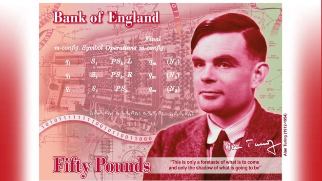 Alan Turing on the British £50 pound note