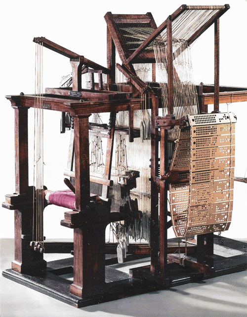 A model of the mechanically programmed loom designed by Jean-Baptiste Falcon in 1728.