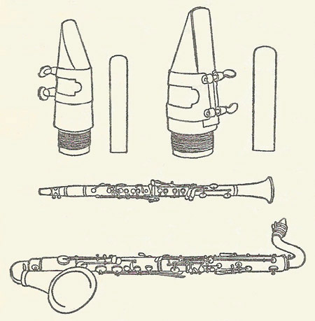 Clarinet and bass clarinet and their mouthpieces and reeds
